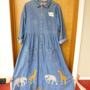 Vintage Noah's Ark Denim Dress